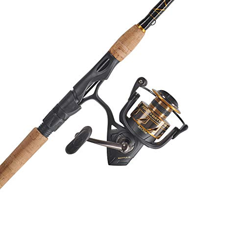 PENN Fishing Battle Spinning Reel and Fishing Rod Combo, black/gold, 4000 reel size - 7' - medium - 2pc (BTLIII4000702M)