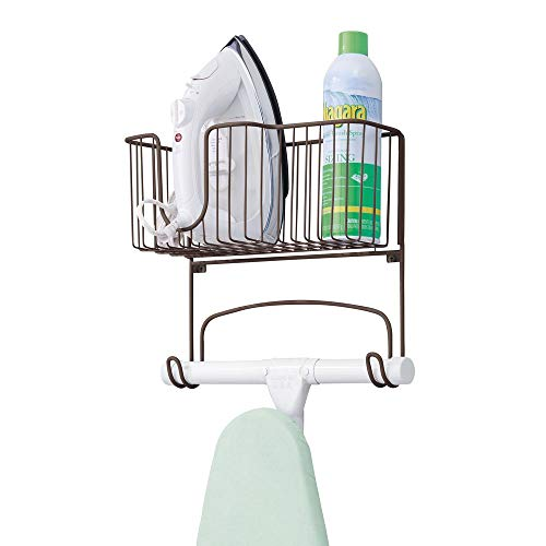 Best Deals! mDesign Metal Wall Mount Ironing Board Holder with Large Storage Basket - Holds Iron, Bo...