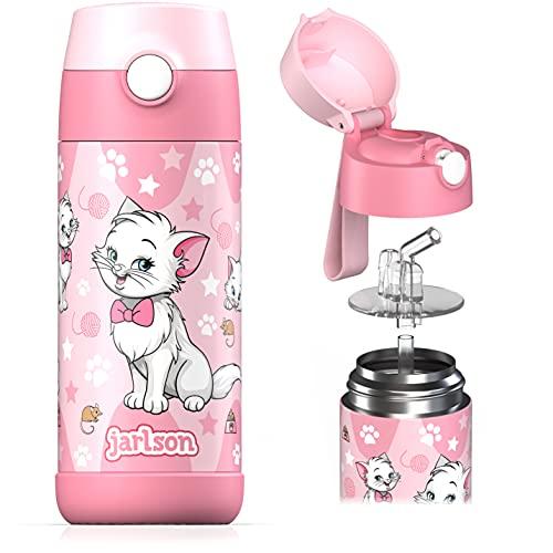 Jarlson® Borraccia Bambini Acciaio Inox, Bottiglia Termica, Senza BPA, Bottiglia Acqua con Cannuccia, Termos 350 ml (Gatto 2, 350)