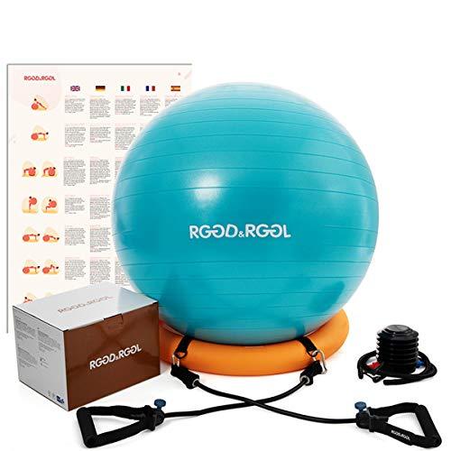 RGGD&RGGL - Palla da ginnastica, da ufficio, palla di stabilità e 2 fasce di resistenza regolabili per ogni livello di fitness, pilates, 1,5 volte per casa, palestra, ufficio e gravidanza
