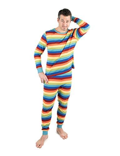 Leveret Mens 2 Piece Pajamas Top & Bottom 100% Cotton Colorful Boy Stripes (Size Large)