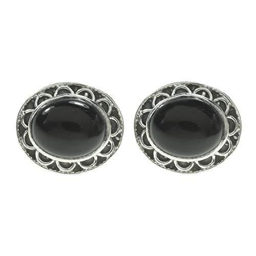 Pendientes de ónix de Plata de Ley diseño flor - Pendientes de piedras naturales