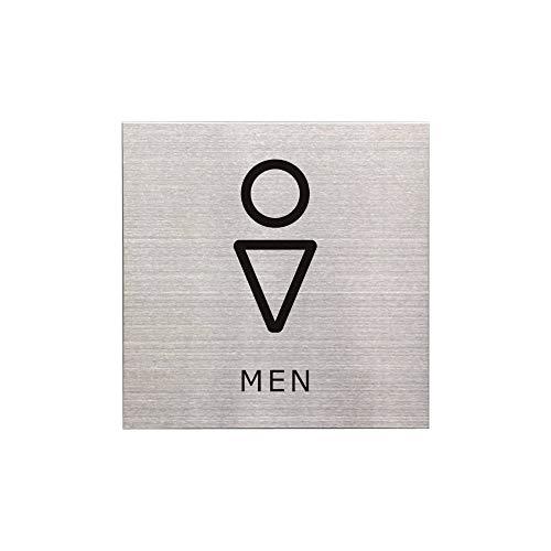 【屋内専用】男性用 トイレ ドアプレート サインプレート ステンレス製 両面テープ・マグネット 2way仕様【15cm×15cm×0.1cm】