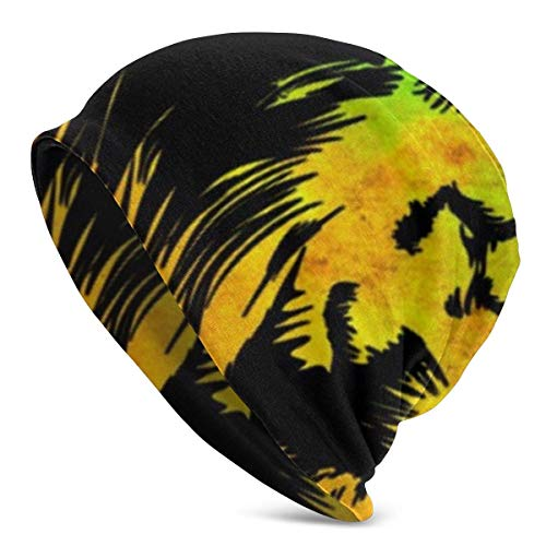 wusond Unisex Adult Strickmützen Lion Jamaica Flag Beanie Hut Winter Warm Printing Skull Cap
