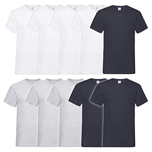Fruit of the Loom Herren V-Neck Valueweight T-Shirt (erPack 10 (L, 4Weiss3DeepNavy3Grau)