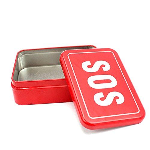 VORCOOL SOS Outil de Survie en Plein air d'urgence pour scies à Fil Pliant Couteau Boussole Multi-Usage Pince boîte de Rangement (Rouge)