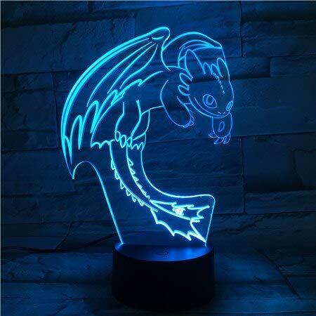 Película de dibujos animados de Hollywood Cómo entrenar a tu ala de dragón Fly Night Fury 3D LED acrílico luz nocturna Boy Fans Dormitorio USB Lámpara de mesa Regalo para niños Decoración para el