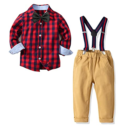 Conjunto de 4 piezas de tirantes para niños pequeños, Escocés rojo, 12 -18 meses