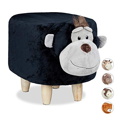 Relaxdays Tierhocker AFFE, für Kinder, gepolstert, niedlicher Dekohocker mit Tiermotiv, Holz, mit Schonbezug, schwarz, H x B x T: ca. 35 x 32 x 40 cm