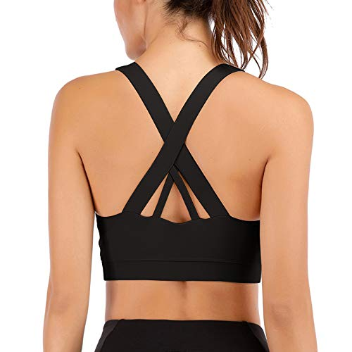 Sports Bras for Women High Impact Support for Yoga Gym Running Workout Fitness Strappy Sports Bra爓ith Padded Removable Cups Black XL