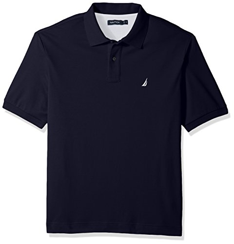 Nautica Men's Classic Fit Short Sleeve Solid Soft Cotton Polo Shirt, navy, LT