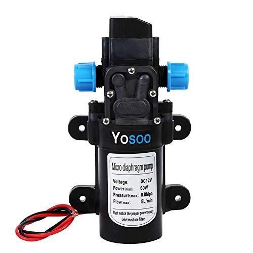 Pompa ad acqua ad alta pressione, DC 12V 5L/Min 116Psi Pompa autoadescante per l'acqua, pompa dell'acqua a membrana per camper, barche, roulotte e il giardino