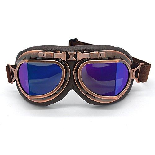 SummShine casque de moto vintage Steampunk Lunettes Eyewear Lunettes de soleil pour sports de plein air pilote de motocross