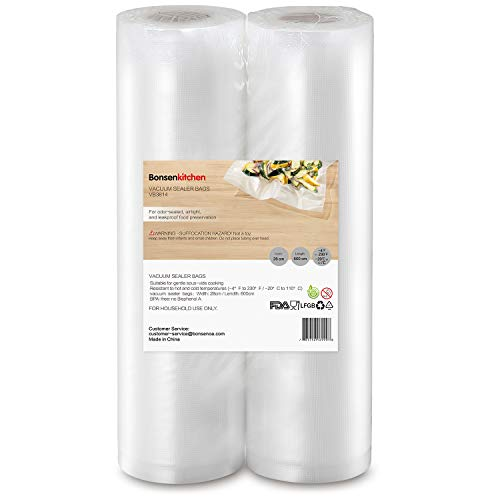 Bonsenkitchen Rollos al Vacio para Envasadora al Vacío, 2 Rollos 28 x 600cm Bolsas de Vacio Gofradas para Conservación de Alimentos y Sous Vide Cocina, Boilable y sin BPA