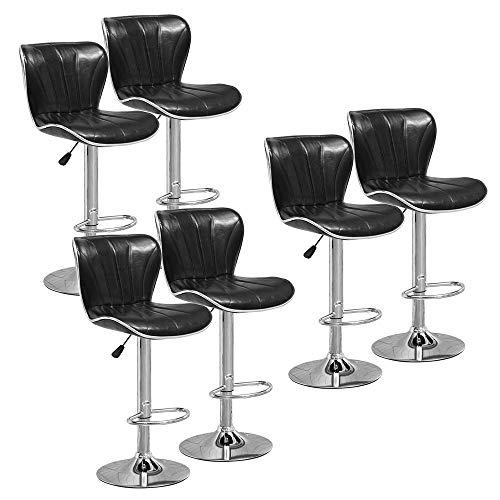 DAKEUR Juego de 6 taburetes de Bar Negros Brillantes para cocinas, sillas de Taburete Ajustable de Cuero PU con Respaldo y reposapiés para Barra de Desayuno, Barra de Desayuno, Comedor, taburetes d