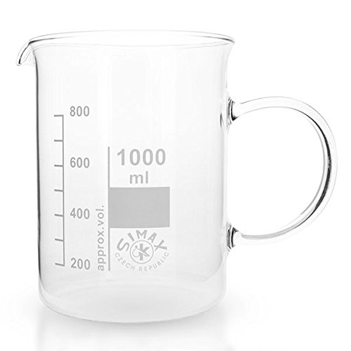 1 x 1000ml Becherglas aus hitzefestem Borosilikatglas, mit Henkel, graduiert, mit Ausguss, normale Form * Messbecher, Bechergläser, Laborglas, Laborbecher *