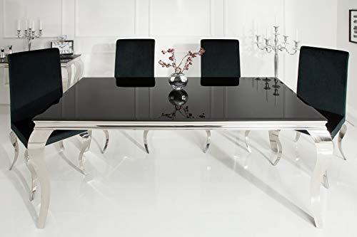 DOLSOFA - Mesa de Comedor Moderna en Barroco, 180 x 90 cm, Color Negro
