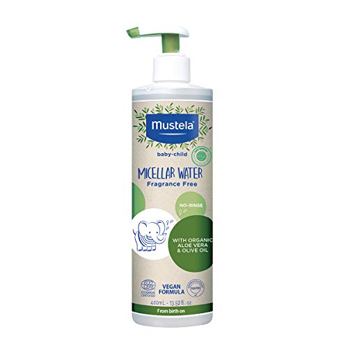 Mustela Baby Organic Micellar Cleansing Water - No-Rinse Natural Water Cleanser with Olive Oil & Aloe Vera - Fragrance Free, Vegan & EWG Verified - 13.52 fl. oz.