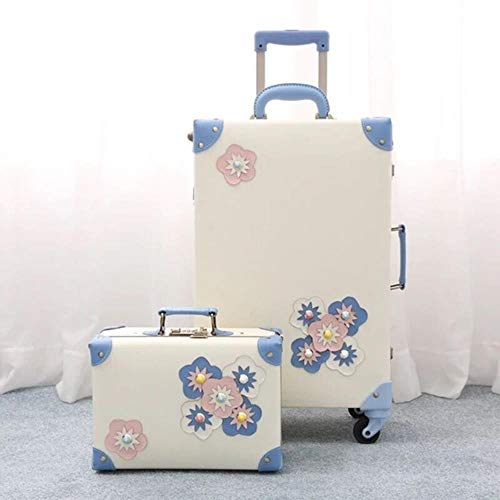 LHXS Vintage Floral Rolling Luggage sets,Women Trolley Suitcase, 20'