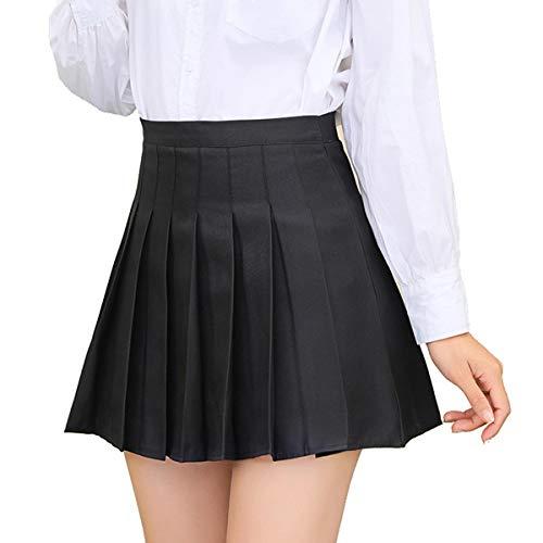 FRECOCCIALO Falda Plisada Mini para Mujer Niña Falda de Cuadros Corta con Cintura Alta para Tenis Falda Escolar Adecuado para Cosplay JK Uniforme Japones (Negro Liso, L)