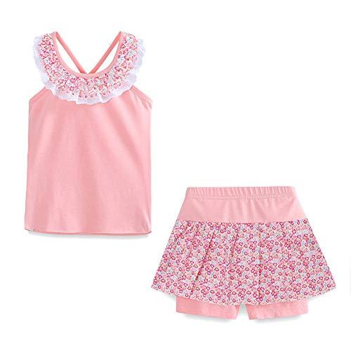 LittleSpring Mädchen kleines sommer-outfit floral top und shorts bekleidung set Light Rosa 6-7T Height 50-54inch