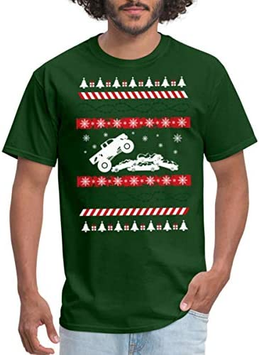 Spreadshirt Monster Truck Ugly Christmas Sweater Men s T Shirt S Forest Green product image