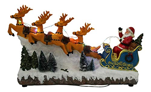 Grande Babbo Natale in neve sulla slitta con renna con luci a led e batteria musicale