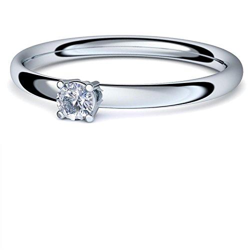 Weißgold Ring Bergkristall 585 + inkl. Luxusetui + Bergkristall Ring Weißgold Bergkristallring Weißgold (Weißgold 585) - Concinnity Amoonic Schmuck Größe 50 (15.9) - AM161 WG585BKFA50