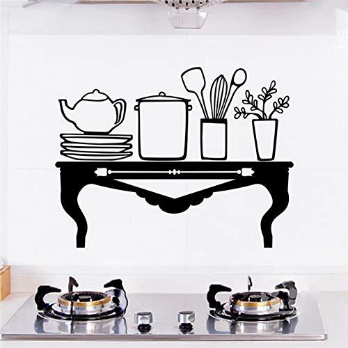 UDPBH Tafel Teapot Plaat Gereedschap Zwart Muurstickers Keuken Home Decor Accessoires Vinyl Muurstickers Diy Mural Art Poster