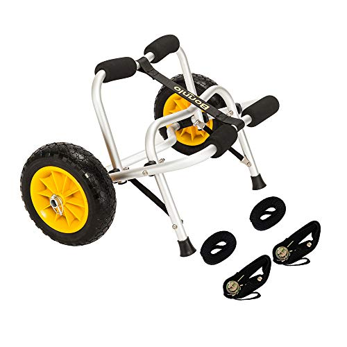 Bonnlo Boat Kayak Canoe Cart Carrier Dolly Trailer Tote Trolley Transport Inflation Free Solid Tires Wheel with Ratchet Straps