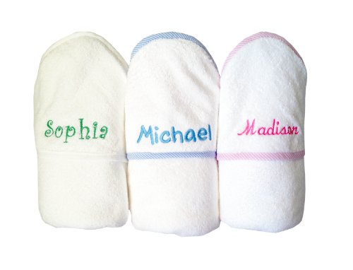 Custom Embroidered Personalized Cotton Soft White Girl Bath Baby Hooded Towel