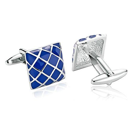 AmDxD Manschettenknöpfe für Herren Blau quadratisch Hemd Manschettenknöpfe Edelstahl 1,7 x 1,7 cm
