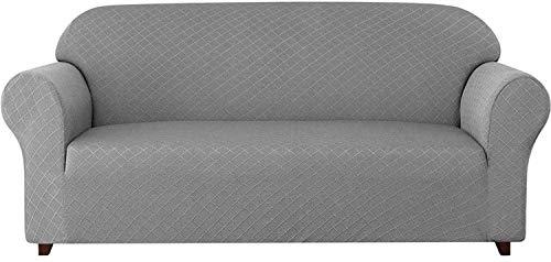 WLVG Fundas de sofá universales de 1 Pieza, patrón de Rombos, Fundas de sofá elásticas, Fundas de sillón, 1, 2, 3, 4 plazas, poliéster, Licra, Antideslizante, para sofá, para Mascotas (Gris Claro