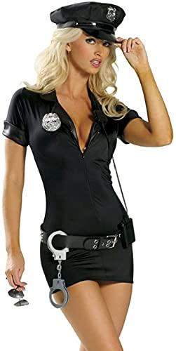 Tante Tina Disfraz de polica para mujer  Polica  Negro  Contenido: gorro, vestido, cinturn, insignia, esposas  M (Talla 40/42)