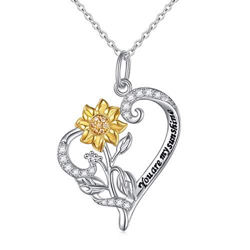 DAOCHONG Sonnenblume Halskette 925 Sterling Silber Du bist Mein Sonnenschein CZ Herz Anhänger Halskette Sunflower Heart Necklace-Style 1
