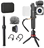 Movo SmartCine Smartphone Video Kit Tripod Bundle - All-in-One Grip Rig, Tripod, Microphone, Light, Lenses - for TIK Tok, Vlogging, Makeup, Tutorials, YouTube - Compatible with iPhone and Android