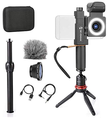 SmartCine Vlogging Bundle with Grip Rig, Tripod, Microphone, Light, and Lenses Compatible with iPhone and Android by Movo