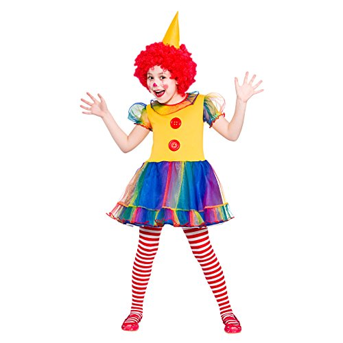 Girls Little Clown Fancy Dress Up Party Costume Halloween Child Large