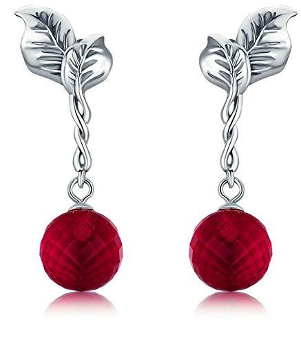 Pendientes Colgantes de Cristal Rojo de Frutas de Verano de Plata de Ley 925 100% para Mujer joyería de Plata Fina