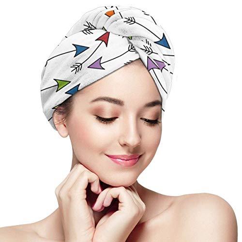 shotngwu Flechas de Colores Microfibra Toalla para el Cabello Envoltura Absorbente Turbante Sombrero de Secado rápido Sombrero Envoltura de baño para Mujer
