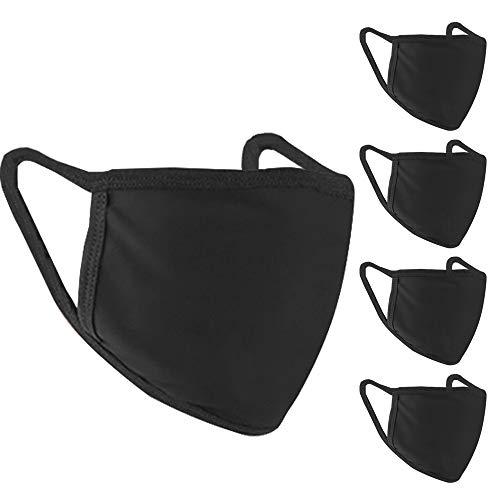 Black Face Mask, 5 Pcs Cloth Mask Cotton Face Masks Washable Reusable Fashion Protective Fabric Masks Outdoor for Adults Men Women Teens