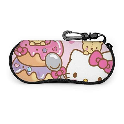 Sonnenbrillen und Brillenetui Hello Kitty With Donuts Haltbarer Brillenhalter mit Reißverschluss und Gürtelclip-SC