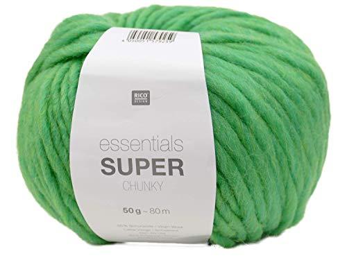 Rico essentials Super Chunky Wolle 50g ~ 80m, Farbe 8 grün, Dicke Wolle Stricken Häkeln Nadelstärke 7 mm