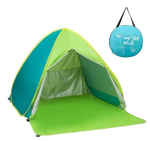 ワンタッチ テント サンシェードテント日除けUV50+カーテン付き組み立て不要 5秒設置 簡易 ポップアップ 2-3人用 超軽量 防水 通気性 アウトドアキャンプ用品 キャリーバッグ付き (グリーン)