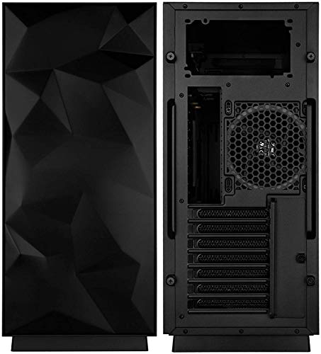 Mini Tower Computer Case HS-28 PC Computer Case with Tempered Glass, Pre-Installed RGB Fan with 10 Backlit Modes and LED Light Strip, 240mm AIO and 347mm VGA Support, Bottom Mount PSU