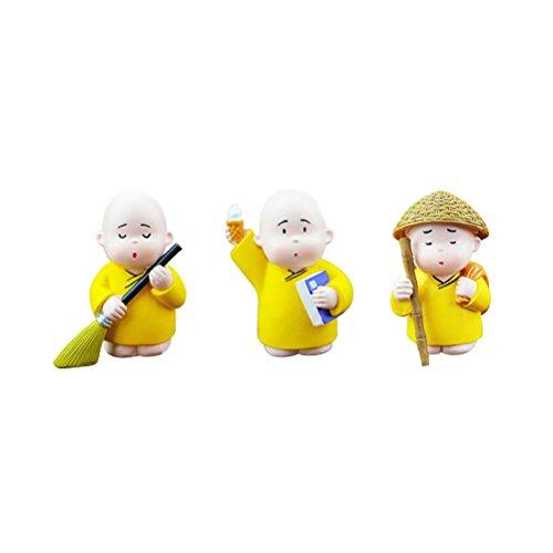WINOMO 3 Stücke Kleine Mönch Figuren Glücksbringer Figuren für Auto Tisch Haus Deko