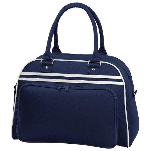 Bagbase Retro Bowling Tasche (23 Liter) One Size,Dunkelblau/Weiß