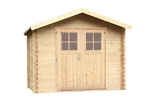 Alpholz Gartenhaus Mons aus Massiv-Holz | Gerätehaus mit 19 mm Wandstärke | Garten Holzhaus inklusive Montagematerial & Dachpappe | Geräteschuppen Größe: 270 x 270 cm | Satteldach