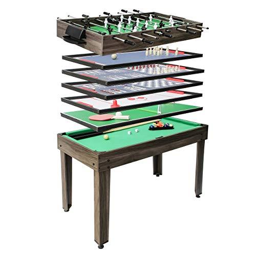 Mendler Tischkicker HWC-J15, Tischfußball Billard Hockey 7in1 Multiplayer Spieletisch, MDF 82x107x60cm - anthrazit-grau