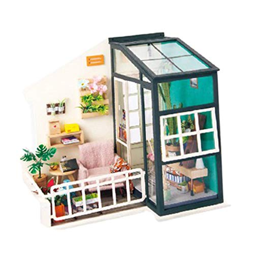 Hellery Miniature Dollhouse with Light DIY Toy Assembly Craft Craft